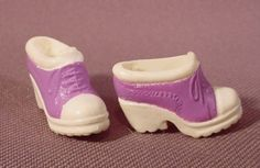 Barbie Doll Pair Of White & Purple Shoes Boots With Lugged Soles