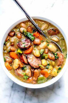 Kielbasa Soup, Kielbasa Sausage, Kilbasa Sausage Recipes, Recipes With Kielbasa, Butter Bean Soup, Butter Beans, Bean And Sausage Soup, Bean Soup Recipes, White Bean Soup
