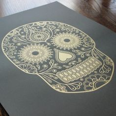Day of the Dead sugar skull gold screen print by Emily Evans $50