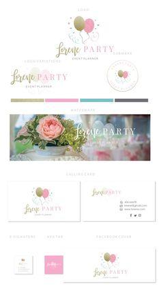 Branding kit logo design - Party planner logo - Party events branding - Party balloon logo - Rose go Event Logo, Event Branding, Branding Kit, Branding Ideas, Becoming An Event Planner, Balloon Logo, Web Design, Brand Design, Graphic Design