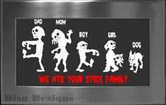Your choice of 5 Zombie Family vinyl decals / Please READ description for ordering instructions - Car decal - Stick Family decal - Halloween...
