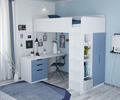 Kids High Sleeper Bed with Wardrobe, Desk and Bookcase , Room Design Bedroom, Girl Bedroom Designs, Home Room Design, Small Room Bedroom, Ikea Teen Bedroom, Dorm Room, Bed Designs, Bed Rooms, Bedroom Bed