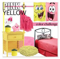 """Color Challenge: Pink and Yellow"" by paculi on Polyvore featuring interior, interiors, interior design, home, home decor, interior decorating, Pine Cone Hill, TOM TAILOR, Hillsdale Furniture and Serena & Lily"