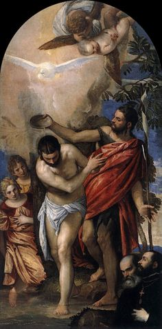 Baptism of Christ - Paolo Veronese  It reallylooks as if Jesus doesnt like being doused with water at all!