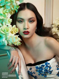 Ling Yue in Floral Couture for Elle Hong Kong by Michèle Bloch Stuckens