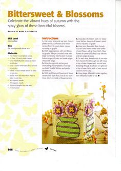 BITTERSWEET & BLOSSOMS TISSUE COVER by MARY T. COSGROVE 1/2 - Bugs, Butterflies, Birds & Blooms Pg 106