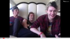 Ashton yelling at Calum for taking his coffee while Michael and Luke are laughing their butts off...yep typical 5SOS twitcam.