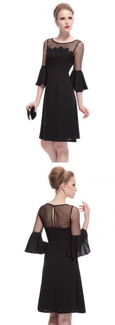 Black Sheer And Lace Panel Trumpet Sleeve Shift Dress-CHOIES