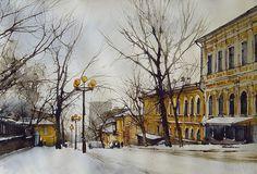 Vjacheslav Kurseev - watercolor artist from Saratov city, Russia. Watercolor Artists, Watercolor Landscape, Artist Painting, Landscape Paintings, Landscapes, Russian Painting, Virtual Museum, Street View, Ocean