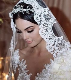 Lace and crystals with mantilla veil -Steph