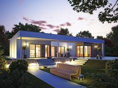 hausentwurf bungalow u form bungalow von okal haus unverwechselbares fertighaus mit flachdach und - Fertighausplne