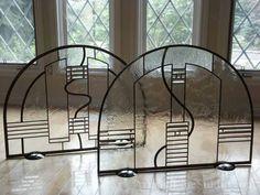 Beautiful Beveled Leaded Glass Fireplace Screen Decoration Glass