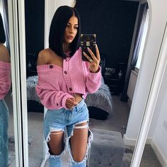 Fashion Women Girl Sweater Long Sleeve Knit Cardigan Tops Autumn Winter Casual Loose Button Down Jacket Coat Outwear, Pink / XL Fall Sweaters, Girls Sweaters, Long Sweaters, Crochet Sweaters, Crochet Clothes, Crop Top Outfits, Cute Casual Outfits, Girl Outfits, Cute Everyday Outfits