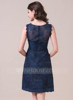 Sheath/Column Scoop Neck Knee-Length Lace Bridesmaid Dress (007057965)
