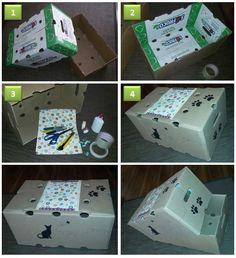 Cómo hacer una caja de transporte para gatos utilizando materiales reciclados. Materiales: 1. Caja de cartón de frutas (ya tienen agujeros y agarradera y son muy resistentes) 2. Cinta para embalar, goma, cutter 3. Marcadores, papel de regalo, tape decorativo, pedazos de tela o cualquier material decorativo que quieran utilizar para decorar la caja.