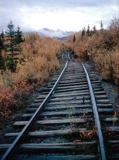 train tracks through a beautiful autumn landscape Abandoned Train, Abandoned Places, Locomotive, Train Miniature, Magic Places, Old Trains, Train Tracks, Train Station, The Great Outdoors