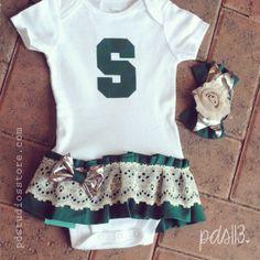 Michigan Spartans Baby Girl Sport Dresses/Bodysuits www.pdstudiosstore.com