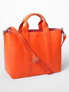 Leather cross body tote, pop of color for summer!