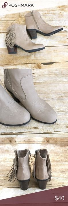 """Sam & Libby Watson fringe booties Just the right amount of cowboy and a fun amount of fringe trend to your wardrobe. 2"""" slung back heel! Circumference around 10"""" , boot shaft height 4"""" , heel is approx 2.5"""" medium width Sam & Libby Shoes Ankle Boots & Booties"""