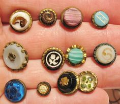 lot #1 12 Small Antique & Vintage Glass Slag Glitter Painted Charmstring Buttons