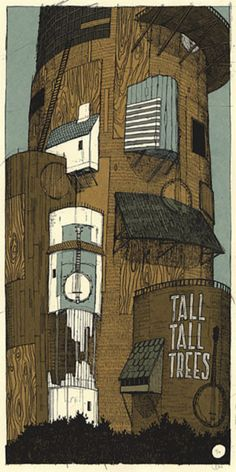Tall Tall Trees gig poster designed by Landland