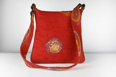 Designer felt Bag, hippie style purse, urban bag, messenger, students bag, shoulder bag, handbag. Filztasche. Feltstream Next Bags, Urban Bags, Hippie Purse, Bags 2015, Felt Purse, Art Bag, Red Felt, Handmade Bags, Beautiful Bags