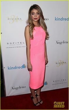 Why can I not find the perfect pink dress?! Sarah Hyland with Giuseppe Zanotti sandals.