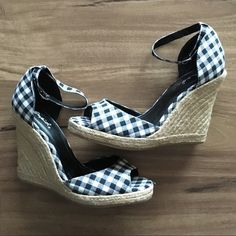 Gingham ankle strap espadrilles Perfect for spring!  Black and white gingham espadrilles with ankle strap, like new! Size unmarked but they fit my size 7.5 feet comfortably. Qupid Shoes Espadrilles