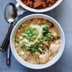 Chili Dinner Menu Recipes: White Chili with Avocado Cream | CookingLight.com