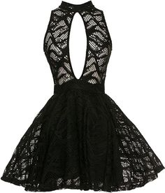 Lace Exposition Dress: Features an elegant halter neckline with keyhole closure to the rear, intricate black lace shell with a clever cut out to the front, and a lined A-line skirt for endless twirling to finish.