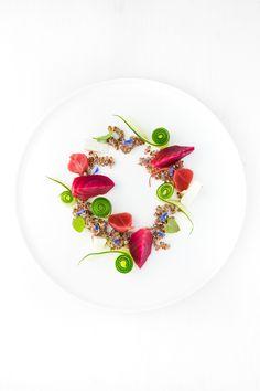 Leckerer Salat aus gebackener Ringelbete, fermentierten Radieschen, Gurke, Schafskäse und einer Zitrus-Vinaigrette mit Dill-Öl.