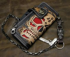 Red Skull Stingray Leather Wallet Hand Carved Biker Wallet, Hand Tooled on Etsy, $124.99