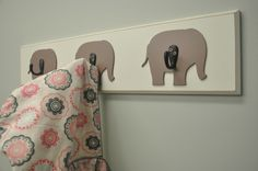 Elephant Wall Hook Board: boy or girl, it is pretty much decided when we have babies (years from now) the first nursery will be elephant themed :)