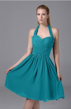 4a603e703cd Modest Sleeveless Zip up Chiffon Knee Length Ruching Party Dresses - Color  Teal
