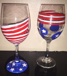 American flag wineglass hand painted.