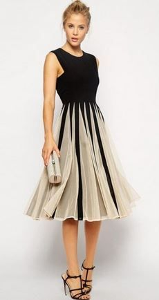 This Dress! Sharp looking! Black and White Patchwork Pleated Grenadine Sleeveless Chiffon Dress.  I would have it hemmed above my knees because I'm a short stack.