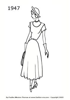 Dress - 1947 fashion history silhouette  fit and flare silhouette