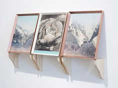 Gabriele Beveridge  The Conspiracy (Mountains)  2010  Spray paint, magazine page, hand painted frame, pine bracket.