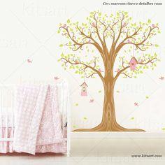 Adesivo Infantil Árvore Casinhas marrom rosa