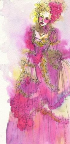 *I need your love*  Illustration of Marie-Antoinette  Watercolor, ink pencil