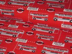 """Jersey """"London Traffic"""" mit Bussen weiß auf rot  von StoffeandFabrics auf DaWanda.com"""