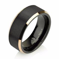 Yellow Gold Brushed Black Tungsten Ring Wedding Band Ring Tungsten Carbide 8mm 14K Tungsten Ring Man Wedding Band Male Women Anniversary