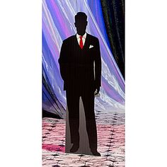 Our Madison Avenue Silhouette Standee features a debonair silhouette of a man in a sharp black suite with a striking red tie.