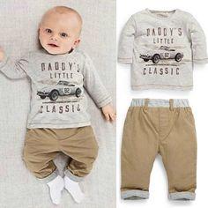 2 шт. дети дети мальчик хлопка с длинным рукавом топы + брючный костюм 1 - 3 т