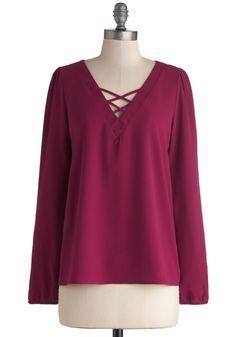 Berry Nice to Meet You Top   Mod Retro Vintage Short Sleeve Shirts   ModCloth.com