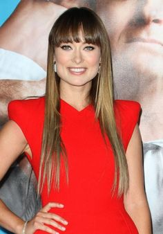 Olivia Wildes blunt bangs, long sleek hairstyle