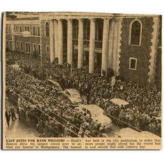 Hank Williams' Funeral.  January 4, 1953 in Montgomery AL.