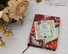 """The front of my Journaling Bible custom Bible Cover that I sewed up tonight using Riley blake fabric and the squares are from Quilting Treasures! Sewing is """"sew"""" fun!"""