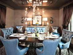 Romantic Dining-rooms from Kristin Kong on HGTV Tufted Dining Chairs, Blue Dining Room Chairs, Dining Room Furniture, Dining Rooms, Kitchen Dining, Tufted Chair, Blue Chairs, Wooden Furniture, Dining Tables