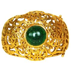 CHANEL Vintage Goldtone Cutout Clover Cuff Bracelet W. Green Gripoix c. 1987   1stdibs.com